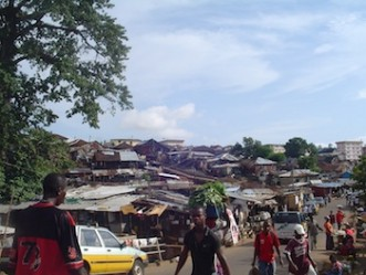 A shopping street in a settlement in Freetown