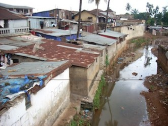 View of a slum in Freetown